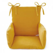 assise chaise haute coussin chaise haute gaze jaune moutarde cocoeko
