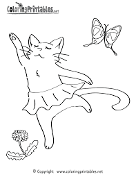 Cat Ballet Coloring Page Printable