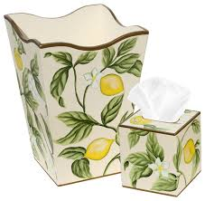Allen G Designs Lemons and Leaves Motif Wastebasket and Tissue