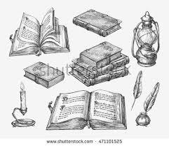 Hand Drawn Vintage Books Sketch Old School Literature Vector Illustration