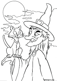 Witches Cat Coloring Pages Free Halloween For Toddlers Templates Masks Crayola Full Size