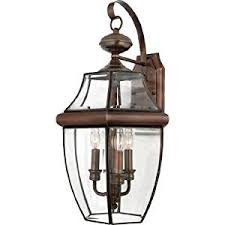 quoizel ny8318ac newbury 3 light outdoor wall fixture aged copper