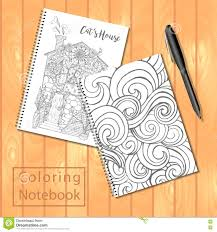 Spiral Bound Notepads Or Coloring Book With Pen And Pages Pictures Wavy Cover House Cat Vector Template Mock Up