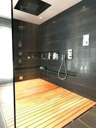 Wood Shower Floor Teak Mat Mid Sized Trendy Master Gray Tile Bathroom Photo In