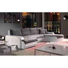 canap d angle fixe canapé d angle fixe à droite avec led gris et blanc planete maison