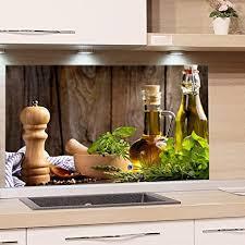 grazdesign spritzschutz glas für küche herd bild motiv grün kräuter provinz mediterran küchenrückwand glas küchenspiegel glasrückwand 60x60cm