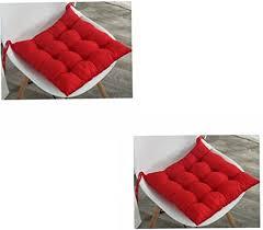 gepolsterte stuhl kissen sitzkissen mit bändern gestepptes design sitzpolster für garten esszimmer küche büro stuhl 2 stück rot