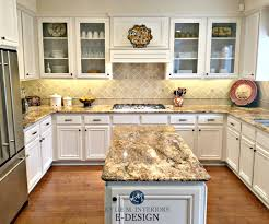 Kitchen With Maple Cabinets And Wood Floor Painted Benjamin Moore White Down Kylie M Interiors E Design Online Paint Color Consulting Granite Countertops