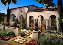 Mediterranean Tuscan Front Yard Landscape Design With Flower Beds And Tiles