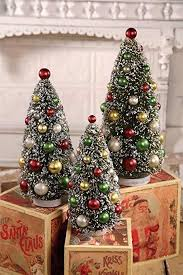 Amazoncom Bethany Lowe 3 Piece Bottle Brush Christmas Tree Set 9
