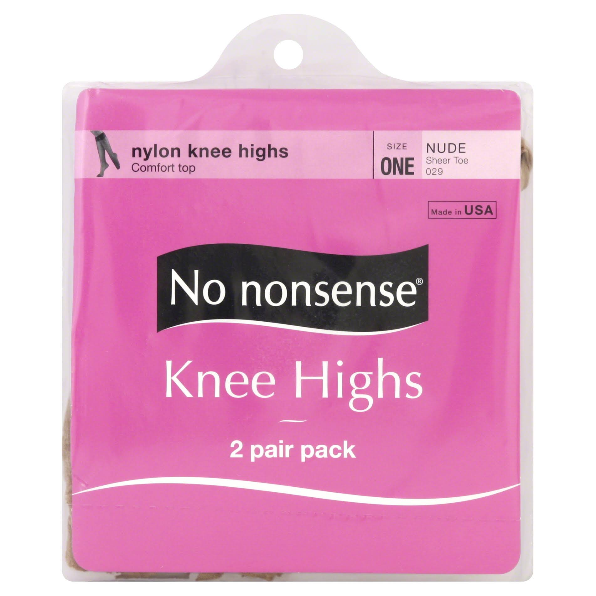 No Nonsense Knee Highs Sheer Toe - Nude, 2pair, Size 1