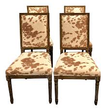 Modern Faux Pony Hair Dining Chairs- Set Of 4