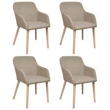 vidaxl esszimmerstühle 4 stk beige stoff und massivholz eiche
