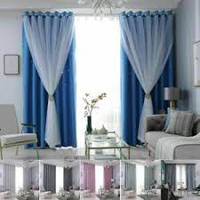 details zu vorhang verdunkelung vorhänge garn ösen doppelschicht tüll gardine wohnzimmer