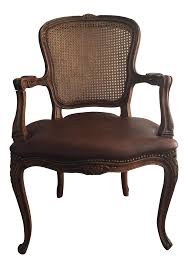 French Provincial Accent Chair by Antique French Cane And Leather Accent Chair Chairish