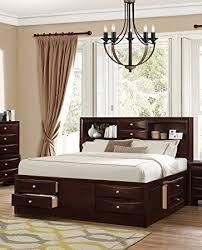 Roundhill Furniture Ankara Wood Storage Bed Queen Espresso