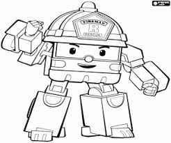 Roy The Robot Fire Truck Robotruck Coloring Page