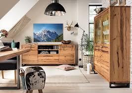wohnzimmer set massivholz 321x165x42cm balkeneiche casade mobila