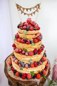 Naked Cake Sponge Layer Fruit Berries Bare Bunting Log Country Rustic Picnic Marquee Wedding