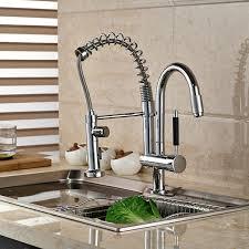chrome finish brass kitchen sink faucet two spouts kitchen