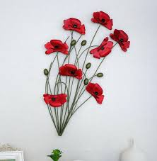 Red Metal Wall Decor Modern Home Decoration Art Hand Made Poppy Flower
