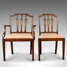 SET OF SIX Antique Dining Chairs, Mahogany, Victorian, Sheraton ... Tiger Oak Fniture Antique 1900 S Tiger Oak Round Pedestal With Ding Chairs French Gothic Set 6 Wood Leather 4 Victorian Pressed Spindle Back Circa Room 1900s For Sale At Pamono Antique Ding Chairs Of Eight Chippendale Style Mahogany 10 Arts Crafts Seats C1900 Glagow Antiques Atlas Edwardian Queen Anne Revival Table 8 Early Sets 001940s Extendable With Ball Claw Feet Idenfication Guide