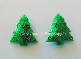 Padded Sequin Christmas Trees Emerald Green Size 1