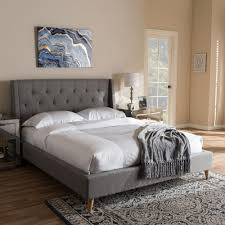 baxton studio adelaide gray fabric upholstered queen platform bed