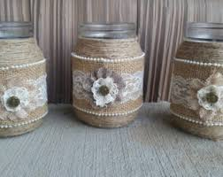 Rustic Wedding Jar Mason Burlap And Lace
