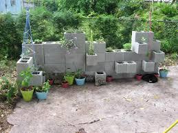 Cinder Block Planters In The Outdoor Garden Using Cinder Blocks