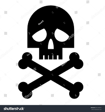 Black Skull With Crossbones Silhouette On White Background Vector Design Template T Shirt