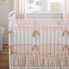 Pale Pink and Gold Chevron Crib Bumper
