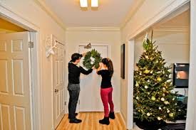 Adding A Fresh Holiday Wreath To The Door Brings Holidays Into Foyer And Combination Of Real Christmas Tree Fills Our Apartment