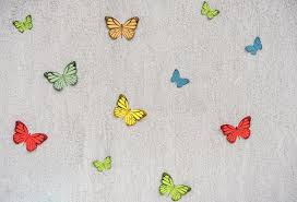Download Wall Decoration With Paper Butterflies Stock Image