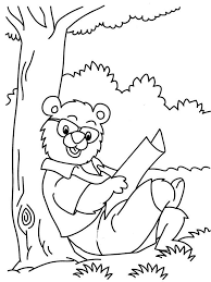 Bear Reading Newspaper Coloring Printable Page