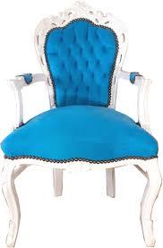 casa padrino barock esszimmerstuhl mit armlehnen türkis weiß 53 x 57 x h 108 cm handgefertigter antik stil massivholz stuhl mit edlem samtstoff