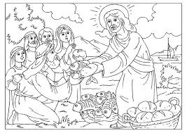 Jesus Feeding The 5000 Coloring Page Free