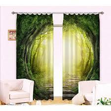 GFYWZ 3D Druck Wald Fenster Gardinen Home Decor Dick Isoliert Blackout Fenster Vorhänge Vorhang 1 Wide 264x High 16