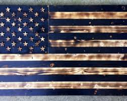 Wooden American Flag Charred Vintage Rustic United