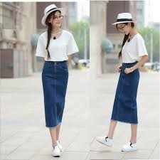 DENIM Korean Summer High Waist Slim Fit Denim Midi Maxi Skirt