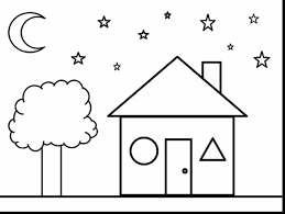Great Star And House Shapes Coloring Pages