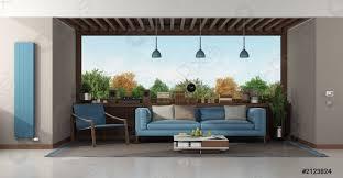 foto auf lager modernes wohnzimmer mit blauem sofa und sessel