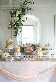 Romantic Rustic Dessert Table Baby Shower Ivory Gold Peach Naked Cake