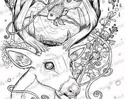 Deer With Fish Bowl Printable Adult Coloring Book Page Digital File Instant Download