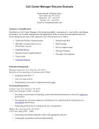 Call Center Manager Resume Example Sample For Job Within