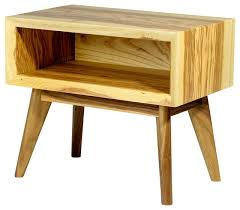 mid century modern inspired solid ash end table nightstand with