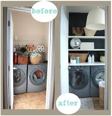 Cheap Tiny Laundry Room Make Over Some Shelves Paint And Good Organization Really