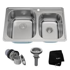 Sink Protector Home Depot by Kraus Drop In Stainless Steel 33 In 1 Hole 60 40 Double Basin