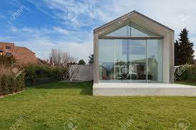 100 A Modern House Exterior Of View From Lawn Stock Photo Picture Nd