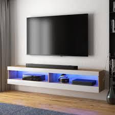 selsey tv lowboard viansola hängend stehend in eiche matt weiß hochglanz mit led beleuchtung 140 cm